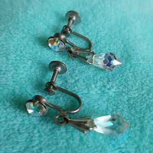 Screw back earrings AURORA BOREALIS Dangle Vintage